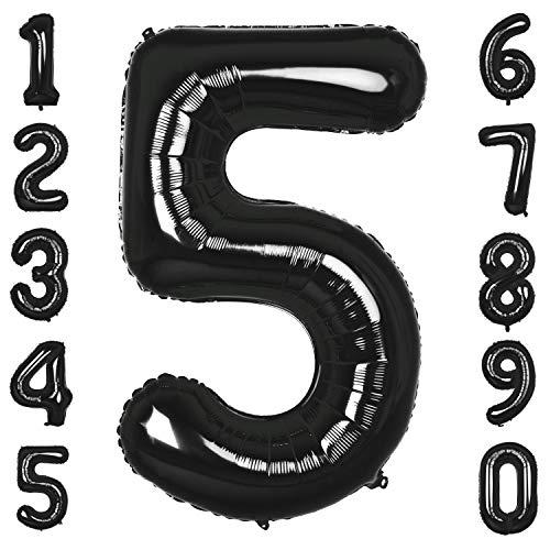 CHANGZHONG 40 Zoll 0 to 9 in Schwarz Nummer Folienballon Helium Zahlenballon Luftballon Riesenzahl Party Hochzeit Kindergeburtstag Geburtstag Nummer 5
