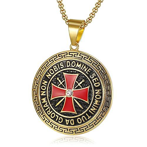 BOBIJOO JEWELRY - Anhänger Templer 41mm Stahl Gold-Rot-Kreuz-Non Nobis Domine SED Nomini Tuo Da Gloriam Kette