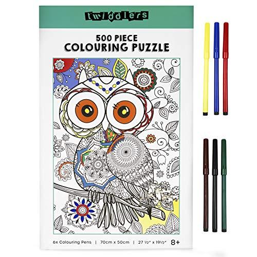 The Twiddlers Puzzle da 500 Pezzi da Assemblare e Colorare, Gufo 70x50cm - con 6 Pennarelli, Fai Da Te
