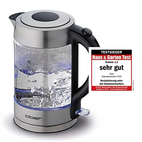 Cloer 4429 Glas Wasserkocher/Testsieger Haus und Garten 02.2019/2200 Watt/LED-Beleuchtung/verriegelter Sicherheitsdeckel/verdecktes Heizelement / 1,7 Liter/Edelstahl, 1.7 liters