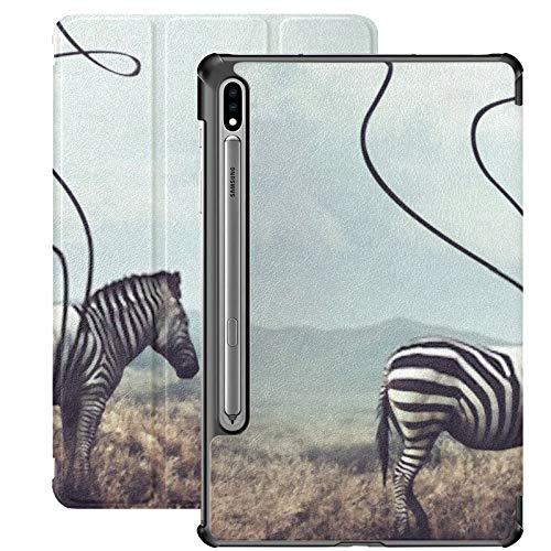 Funda para Galaxy Tab S7 Funda Delgada y Liviana con Soporte para Tableta Samsung Galaxy Tab S7 de 11 Pulgadas Sm-t870 Sm-t875 Sm-t878 2020 Release, Surreal Image Zebra Two Black Stripes