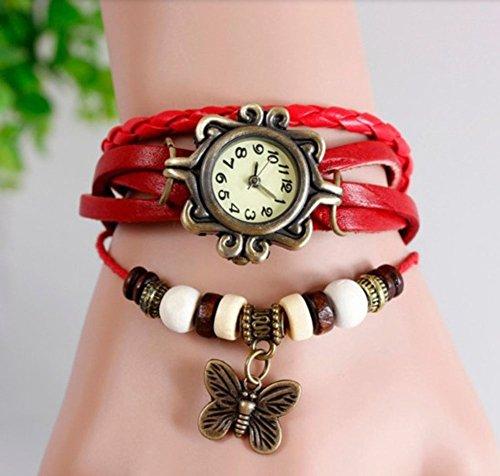 Outflower - Orologio da Donna al Quarzo, con Cinturino in Pelle, con Ciondolo a Forma di Farfalla, da Donna, Colore: Nero Rosso