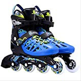 通用 Chaussures de Skate Professionnelles Adultes PU Flash Wheel Speed ​​Inline Skates Shoes Adultes Hommes Femmes Lady Roller Skates Teens Sneakers L (41-44) Noir Bleu