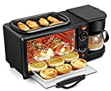Moongiantgo 3 in 1 Breakfast Station Toaster Oven Electric Breakfast Maker Machine Multifunction Coffee Maker 9L Household Mini Oven with 30min Timer (110V US Plug)