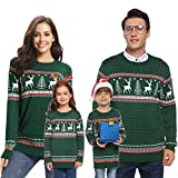 Abollria Family Matching Ugly Christmas Reindeer Snowflakes Sweater Pullover Green,Mom Medium