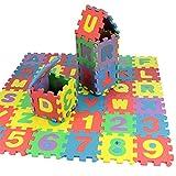 Goodbox Kinderteppich Spielmatte Lernteppich Puzzlematte 36 Stück Schaumstoffmatte Kinderteppich Zahlen und Alphabet Matte 12x12 cm (12x12 cm)
