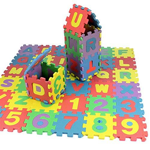 Goodbox Kinderteppich Spielmatte Lernteppich Puzzlematte 36 Stück Schaumstoffmatte Kinderteppich Zahlen und Alphabet Matte 6x6 cm (6x6 cm)