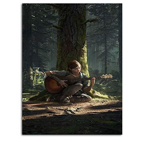 The Last of Us Part 2 Póster de Ellie tocando guitarra (4) impresiones artísticas de 30,48 x 45,72 cm, 3D pintado sobre lienzo, obras de arte listas para colgar