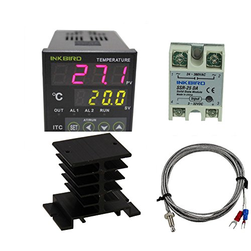 Inkbird AC 100 to 220V ITC-100VH Digital PID Thermostat Temperature Controller 25DA SSR Black Heat Sink K Thermocouple
