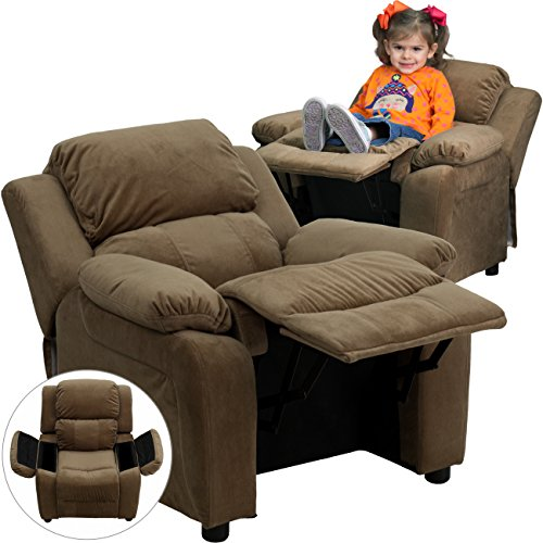 Flash Furniture Brown Microfiber BT-7985-KID-MIC-BRN-GG Deluxe Padded Contemporary Kids Recliner with Storage Arms, 26 x 25 x 28