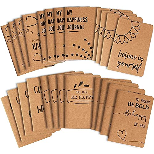 24 Pack Kraft Paper Notebook, Happy Journal (4 x 5.75