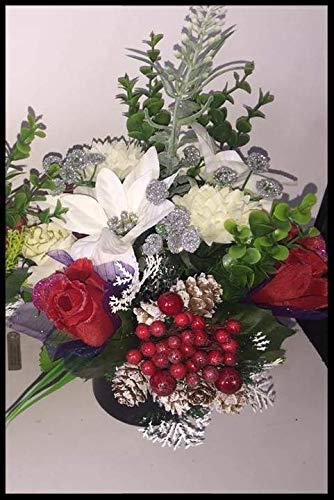 Weihnachts-Crem-Topf – rote Beeren & Schnee Eichel in liebevoller Gedächtnis-Blumen-Arrangement