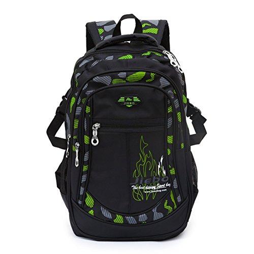 A AM SeaBlue Kinder Schulrucksack für Jungen Schulrucksack Rucksack Jugendliche Schultasche Outdoor Freizeit Daypack (Grün)