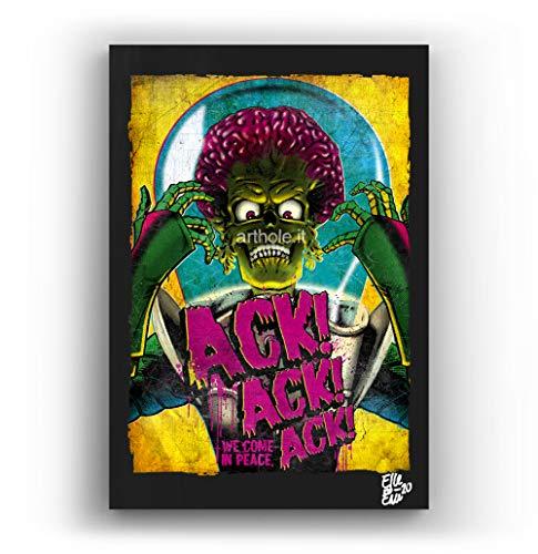 Mars Attacks, pelicula de Tim Burton - Pintura Enmarcado Original, Imagen Pop-Art, Impresion Poster, Impresion en Lienzo, Cuadro, Comics, Cartel de la Pelicula, Ciencia Ficcion