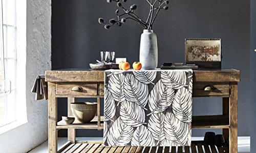 Proflax Tischdecke SABU 130 / 170 cm, Grafische Blätter auf Halbleinen, Farbe trüffel,