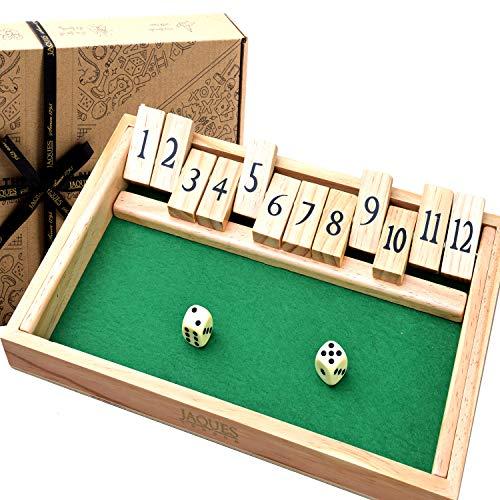 Jaques von London Shut the Box Spiel | Qualität holz spiele brettspiele | 12 Ziffern | Brettspiele Familienspiele | Seit 1795