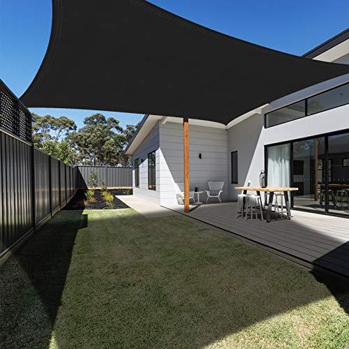 Ankuka Voile d'ombrage Rectangulaire 2x3 mètres, Auvent Imperméable UV Protection pour Jardin Terrasse Extérieur Patio Piscine, Avec Corde Libre (Noir)