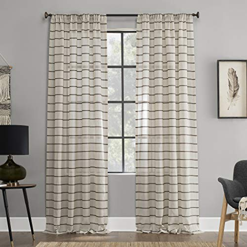 "Clean Window Twill Stripe Allergy/Pet Friendly Anti-Dust Sheer Curtain Panel, 52"" x 84"", Mocha/Linen"