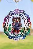 Kinetic 3D Metal Outdoor Garden Decor Wind Spinner (Mystical Owl)