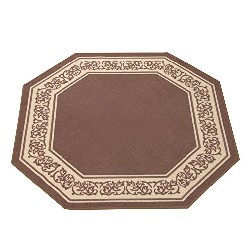 """Collections Etc Floral Border Octagon Rug, Sand, 54"""" X 54"""""""