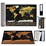 BUYGOO Rubbelweltkarte Weltkarte zum Rubbeln in A3 Größe (42 x 30cm) - Rubbel Landkarte zum Freirubbeln mit Zubehör-Set, Reisende Antik Poster Rubbelkarte