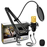 USB Microphone Kit Condenser PC Cardioid Mic 192KHZ/24Bit, HyAdierTech Streaming Microphone Kit with Professional Sound Chipset Desktop Stand Shock Mount Pop Filter, Skype Youtube,Gaming Recording