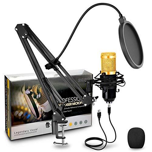 HyAdierTech Micrófono de Condensador, Micrófono de Condensador con Conector de Audio de 3.5 mm, con Soporte de Brazo de Tijera, Montaje de Choque, Filtro de Pop, para grabación, podcasting, Youtube