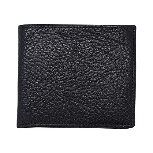 Black Genuine Leather Wallet Bifold – Arizona Bison Grain - RFID Blocking - American Factory Direct - Slim Bill Fold - Made in USA by Real Leather Creations FBA446
