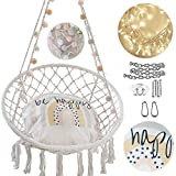 NOOKSTA Rainbow Hammock Chair -Hanging Chairs for bedrooms Set- Hanging Chair, Cushion for Macrame Swinging Chairs, Lights, Pom Pom Garland & Hanging kit. Perfect Decor for Teenage Girls Bedroom