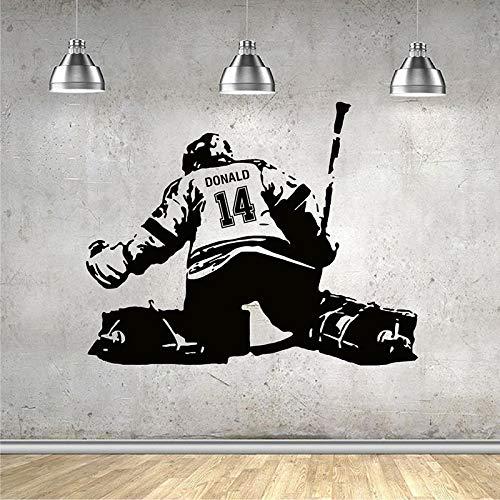 Pegatina de pared de portero de hockey, nombre, número, portero, jugador de hockey sobre hielo, calcomanías de decoración para el hogar, habitación de niños, dormitorio A6, 53x42cm
