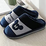 Micro Suede Slippers,Non-slip warm home slippers, thick bottom and velvet cotton slippers-Mixiong M blue_310 (suitable for 46-47 size),Cosy Non Slip Indoor Outdoor Home Slippers
