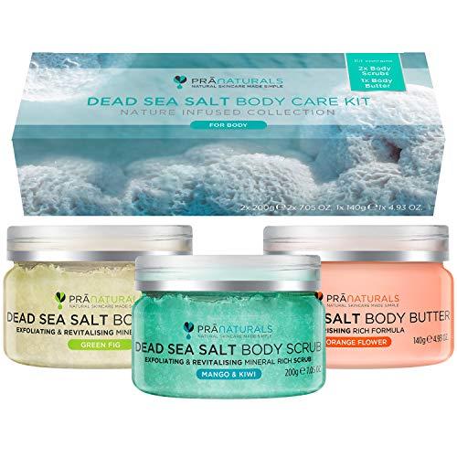 PraNaturals Kit per la Cura del Corpo ai Sali del Mar Morto - Scrub Esfoliante & Burro Corpo Idratante per una Pelle Liscia, Mango & Kiwi, Fico Verde, Fior d'Arancio, Vegano & Non testato su animali