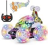 Stunt Coche Teledirigido Rotación 360 RC Car Crawler Twisting Vehicle 2.4GHZ Radiocontrol Teledirigido Juguete Todoterreno Recargable con Luces Música para Niños Adultos Regalo