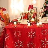 Deconovo Tovaglia Rettangolare in Tessuto Oxford Tovaglia Natalizia Lunga Elegante con Stampa Cerchi e Stelle per Natale 130x220cm Rosso