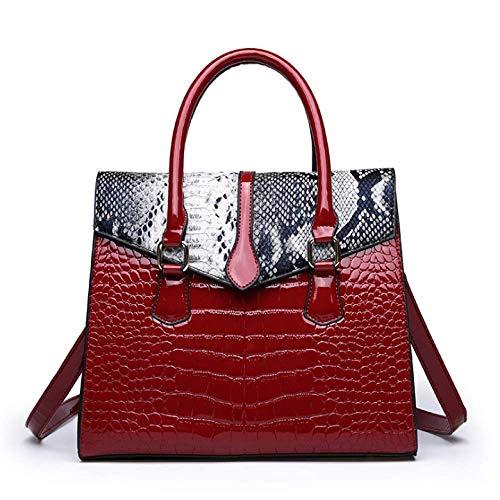 Borsa a mano grande capacità, da donna, alla moda, semplice, Rosso (Rosso) - aso-1337