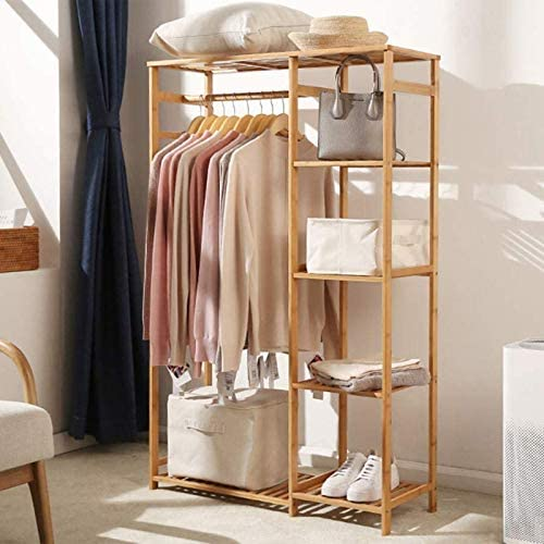 tonchean Bamboo Wood Clothing Garment Rack 6 Tier Storage Shelves Clothes Rack Portable Wardrobe product image