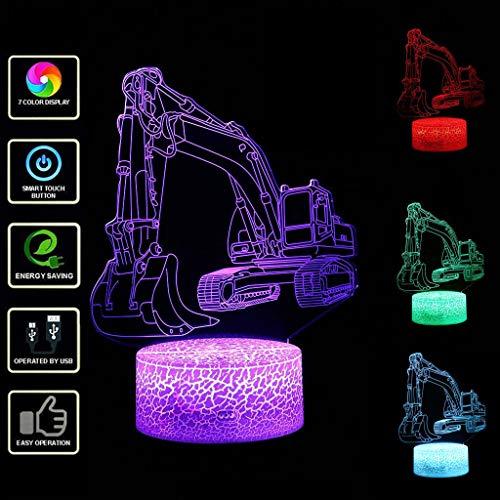 samLIKE 3D Nachtlampe Bagger LED Nachtlicht Optical Illusion Automodell Täuschung Lampe 7 Farbwechsel Eingebaute Batterie USB Nachtlichter für Freund und Kinder (Weiß Base)
