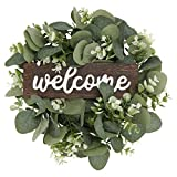VALICLUD Cartello di Benvenuto Floreale Porta D'ingresso Ghirlande da Appendere Rustico Floreale Appeso A Parete Decorazione Artistica per Ingresso di Casa Fattoria Recinzione del Portico