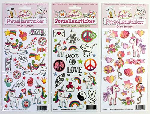 Porzellansticker-Set 12, Einhorn, Icondekor, Pegasus/Flamingo + Gratis Anleitungsbuch