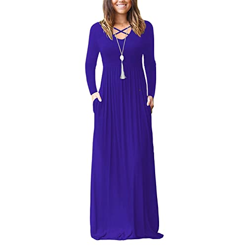 6c2afed5f654e LILBETTER Women's Sleeveless Racerback and Long Sleeve Loose Plain Maxi  Dresses Casual Long Dresses with Pockets