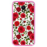 Hapdey silikon Hülle für [ Meizu M5 ] Design [ Muster mit roten Rosen ] Rosa Flexibles TPU