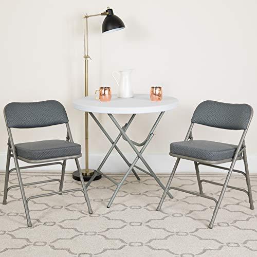 Flash Furniture 2 Pk. HERCULES Series Premium Curved Triple Braced & Double Hinged Gray Fabric Metal Folding Chair