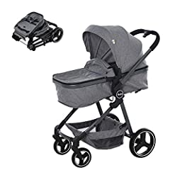 ✅2 IN 1 DESIGN: This 2-in-1 lightweight baby stroller allows for a seamless transition from sleeping basket to stroller. ✅SAFE FEATURES: With four-wheel suspension, front universal wheels, and rear wheels with brake lever for easy parking, as well as...