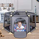 Hello-5ive Playard Playpen for Baby Toddlers, Large Indoor Outdoor Kids Activity Centre, Portable Play Center Fence 6-Panel with Breathable Mesh for Babies Toddlers Newborn (Grey)