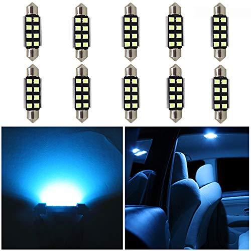 WLJH 10 Pack 36mm LED-Deckenleuchte DE3423 DE3425 6411 Canbus Fehlerfrei für Autos Eisblau Girlande Innere Karte Nummernschild Kofferraum Bereich Beleuchtung