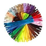 Vokmon 15pcs Colorido de Nylon Cremalleras Bobina a Medida de Prendas de Vestir de Costura Artesanal Bolsa Bobina de Cremalleras DIY Accesorios Color al Azar