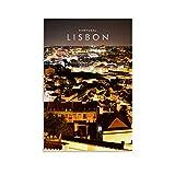 Lissabon-Skyline Nacht, Reise-Poster, Leinwandbild,