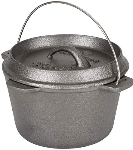 Stansport Non-Seasoned Cast Iron Dutch Oven, Flat Bottom