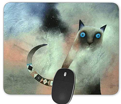 Gaming Mouse Pad,Geometric Cartoon Cat Rectangle Mouse Pad Size(9.84'x7.87')