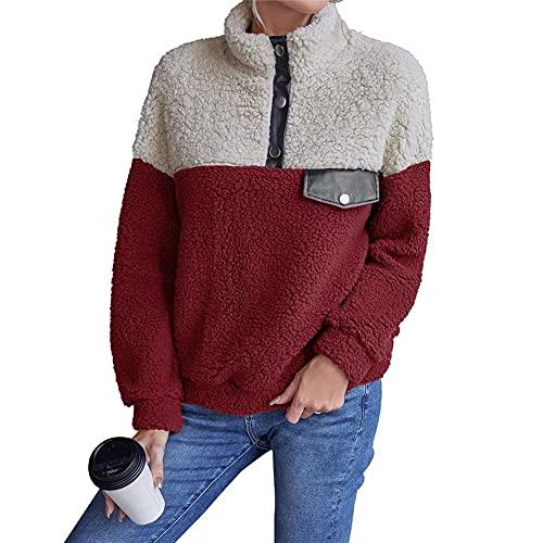 LYAZFC Chaqueta de Costura de suéter Casual Multicolor de Felpa Multicolor de otoño e Invierno para Mujer